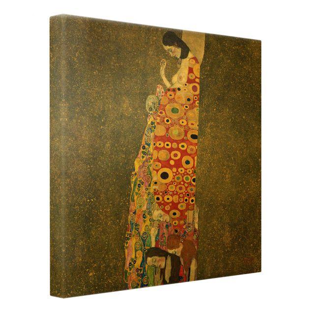 Leinwandbild Gold - Gustav Klimt - Die Hoffnung II - Quadrat 1:1