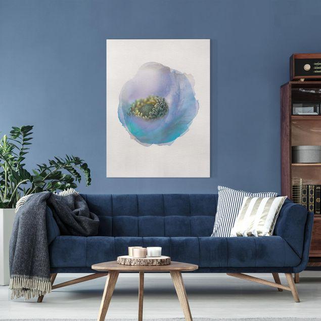 Leinwandbild - Wasserfarben - Anemone auf dem Fluss - Hochformat 4:3