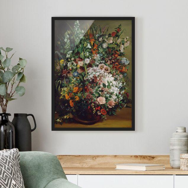 Bild mit Rahmen - Gustave Courbet - Blumenstrauß in Vase - Hochformat 3:4