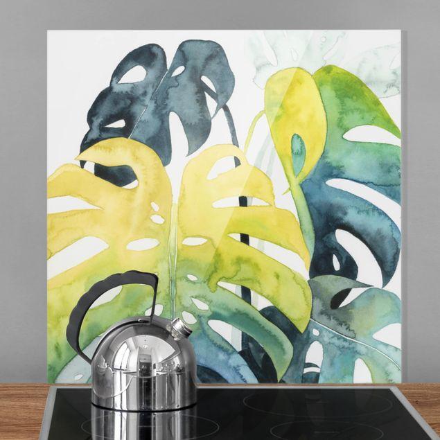 Glas Spritzschutz - Tropisches Blattwerk - Monstera - Quadrat - 1:1