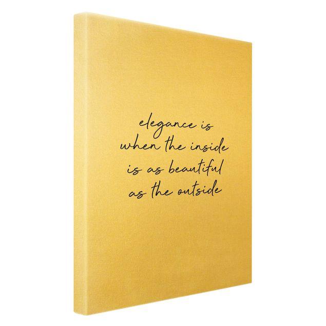 Leinwandbild Gold - Elegance Zitat - Hochformat 2:3