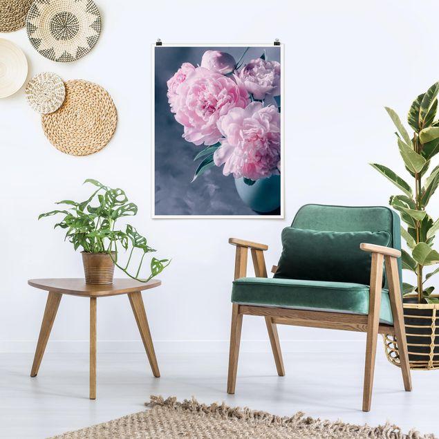 Poster - Vase mit Rosa Pfingstrosen Shabby - Hochformat 4:3