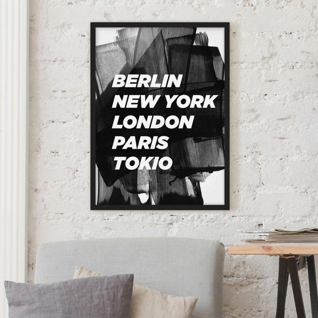 Bild mit Rahmen - Berlin New York London - Hochformat 3:4
