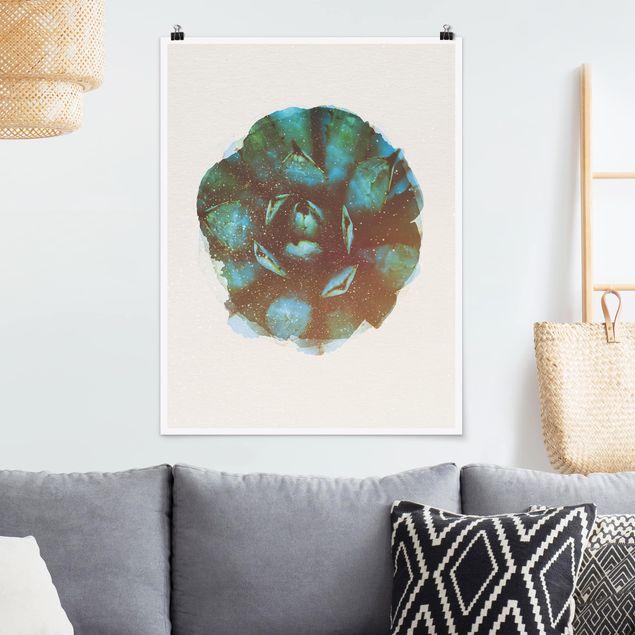 Poster - Wasserfarben - Blaue Agave - Hochformat 4:3