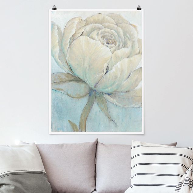 Poster - Englische Rose Pastell - Hochformat 3:4
