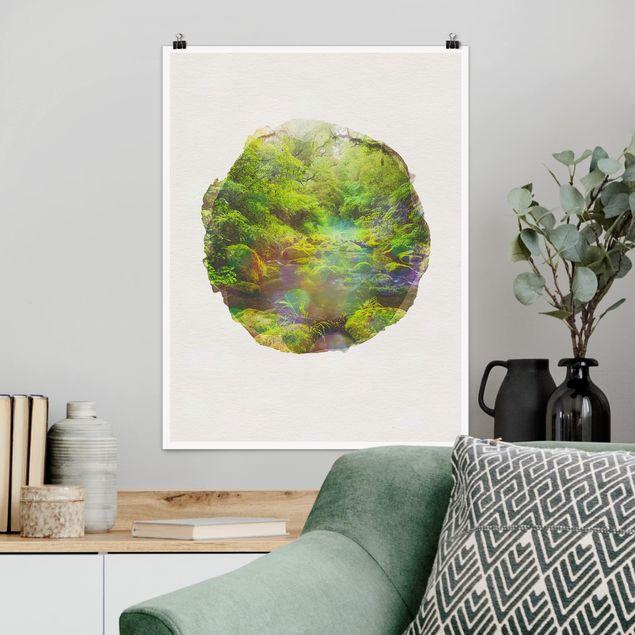 Poster - Wasserfarben - Bay of Plenty - Hochformat 4:3