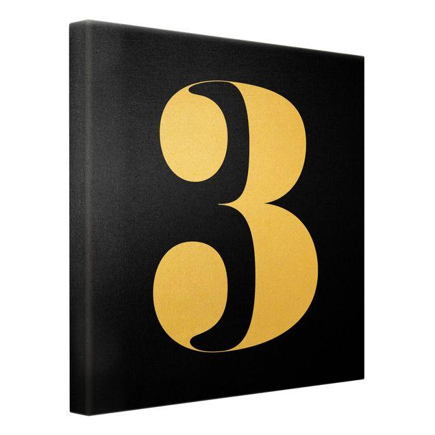 Leinwandbild Gold - Antiqua Zahl 3 - Quadrat 1:1