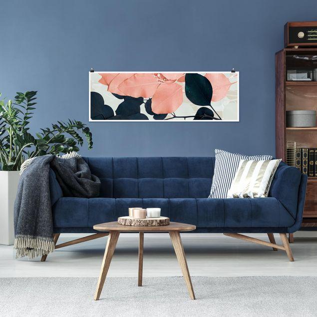Poster - Blätter Indigo & Rouge I - Panorama Querformat