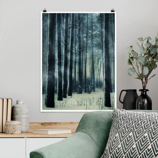 Poster - Mystischer Winterwald - Hochformat 3:4