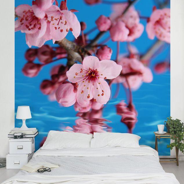 Fototapete Kirschblüten Geisha Rot