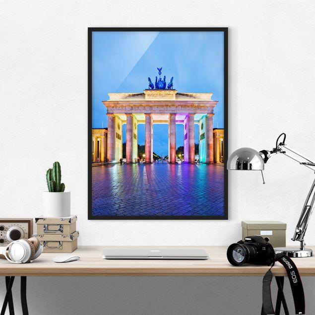 Bild mit Rahmen - Erleuchtetes Brandenburger Tor - Hochformat 3:4
