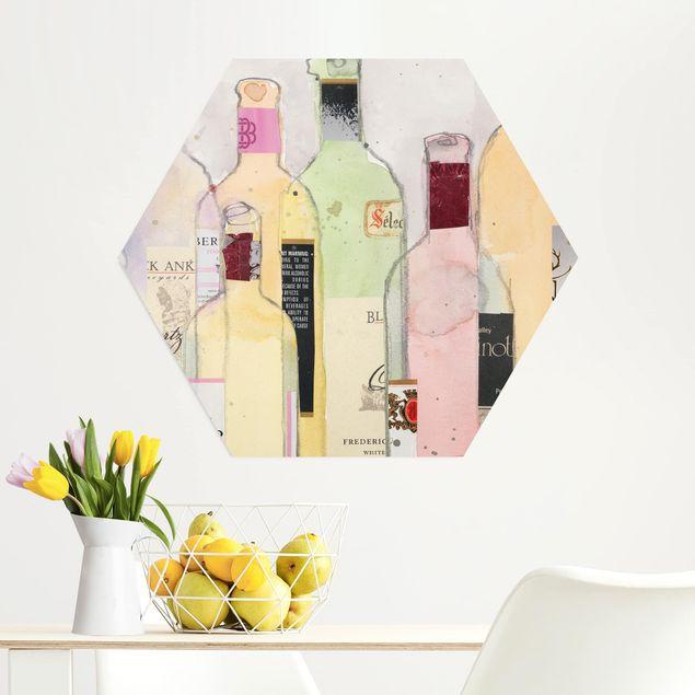 Hexagon Bild Alu-Dibond - Weinflaschen in Wasserfarbe I