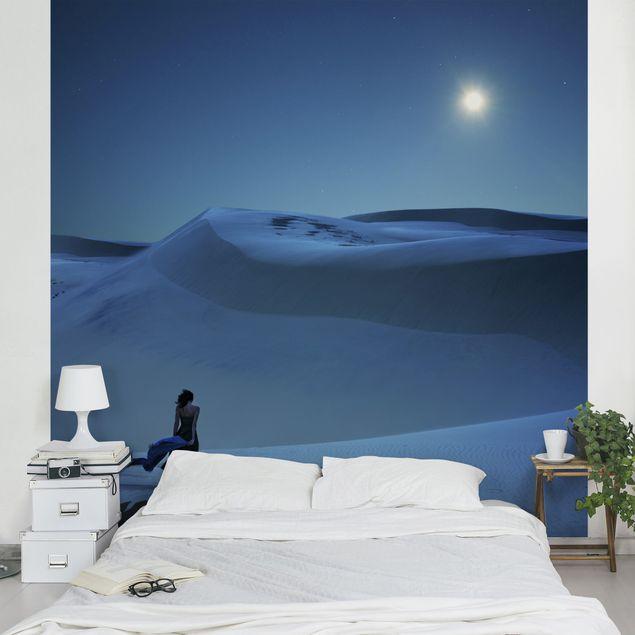 Fototapete Vollmond über der Wüste