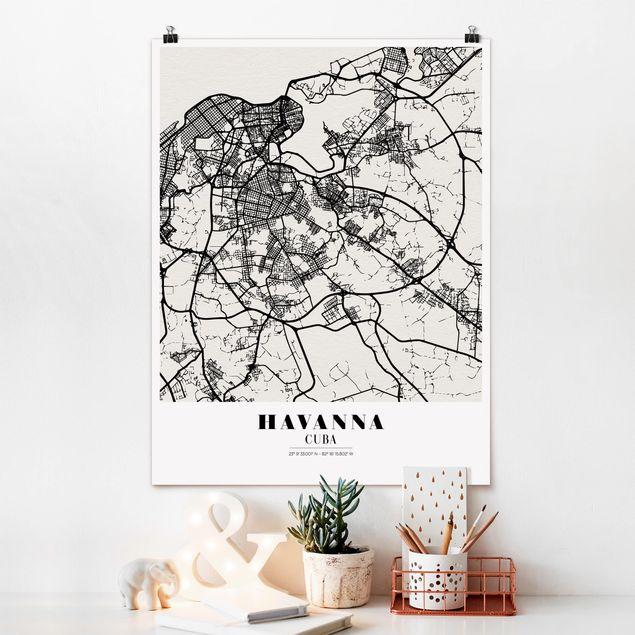 Poster - Stadtplan Havanna - Klassik - Hochformat 3:4