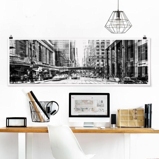 Poster - NYC Urban schwarz-weiß - Panorama Querformat
