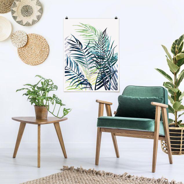 Poster - Exotisches Blattwerk - Palme - Hochformat 3:4