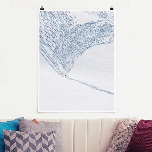 Poster - Skifahrer in den Alpen - Hochformat 3:4