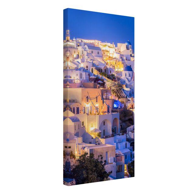 Leinwandbild - Santorini at night - Hochformat 1:2