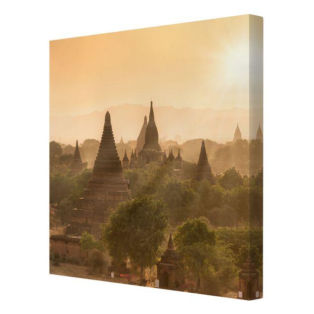 Leinwandbild - Sonnenuntergang über Bagan - Quadrat 1:1