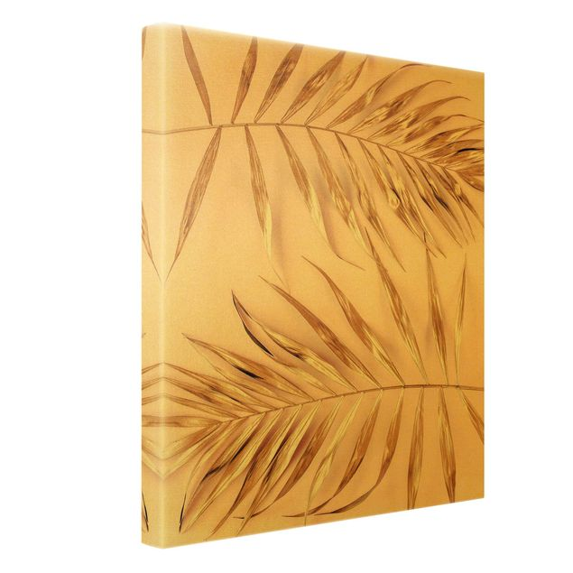 Leinwandbild Gold - Goldene Palmenblätter auf Rosa - Hochformat 3:4