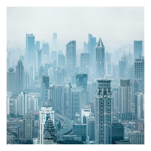 Leinwandbild - Kühles Shanghai - Quadrat 1:1