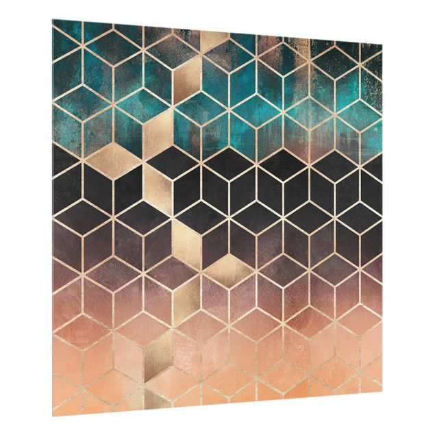 Glas Spritzschutz - Türkis Rosé goldene Geometrie - Quadrat - 1:1