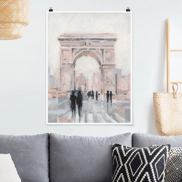 Poster - Spaziergang am Morgen II - Hochformat 3:4