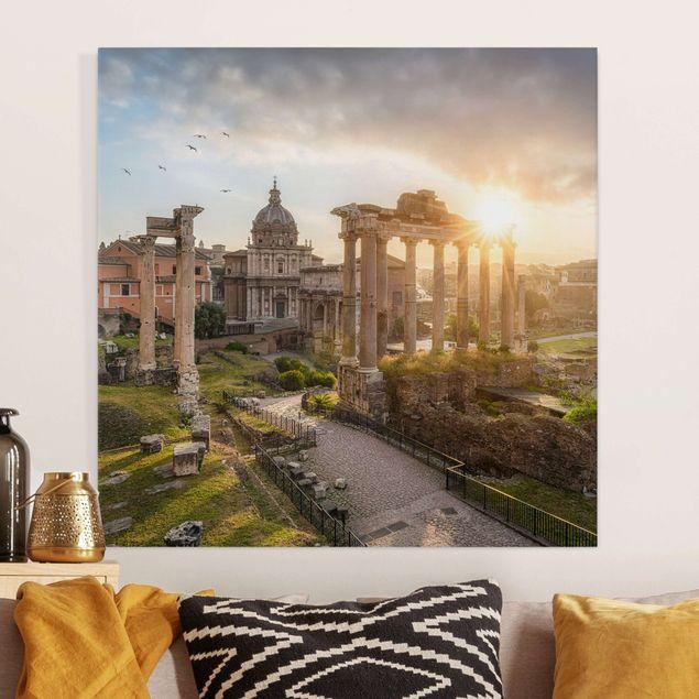 Leinwandbild - Forum Romanum bei Sonnenaufgang - Quadrat 1:1