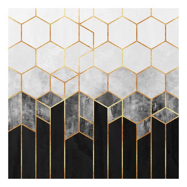 Glas Spritzschutz - Goldene Sechsecke Schwarz Weiß - Quadrat - 1:1