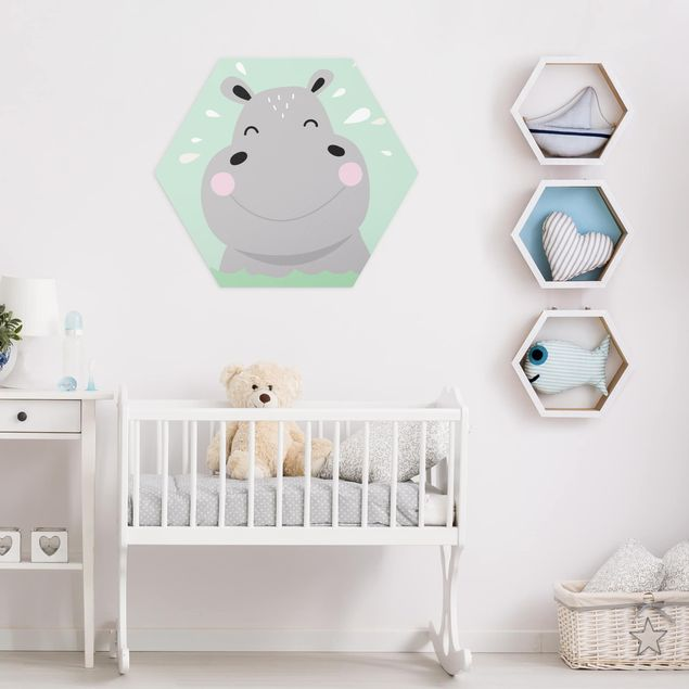 Hexagon Bild Alu-Dibond - Das glückliche Nilpferd