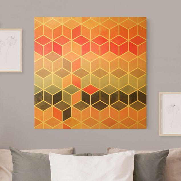 Leinwandbild Gold - Goldene Geometrie - Buntes Pastell - Quadrat 1:1