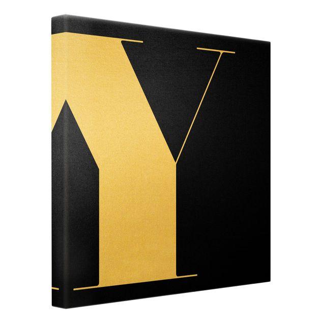 Leinwandbild Gold - Antiqua Letter Y Schwarz - Quadrat 1:1