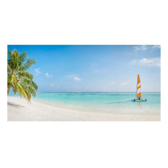 Leinwandbild - Katamaran auf dem Indischen Ozean - Querformat 2:1