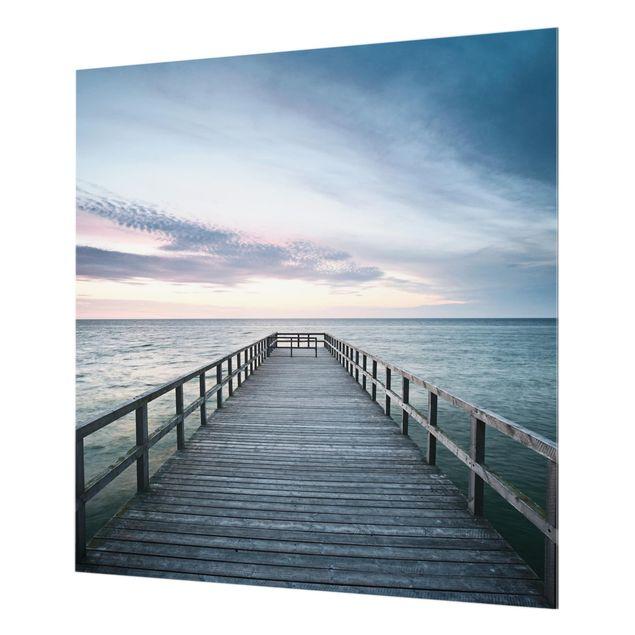 Glas Spritzschutz - Steg Promenade - Quadrat - 1:1