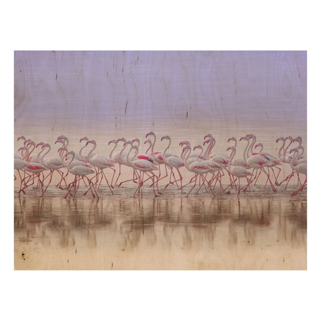 Holzbild - Flamingo Party - Querformat 3:4