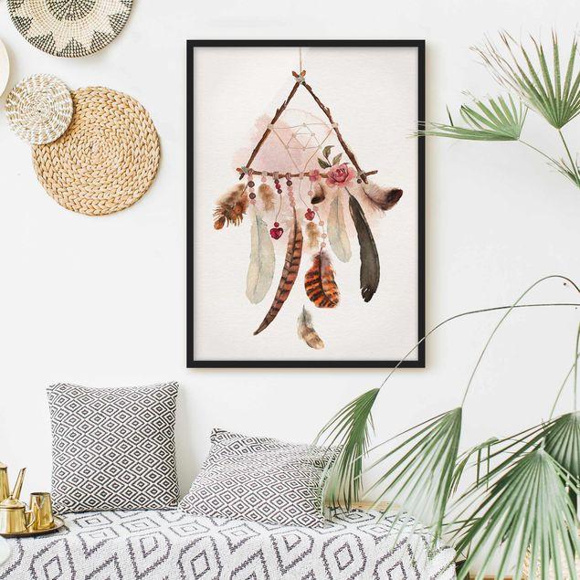 Bild mit Rahmen - Traumfänger Dreieck - Hochformat 3:4