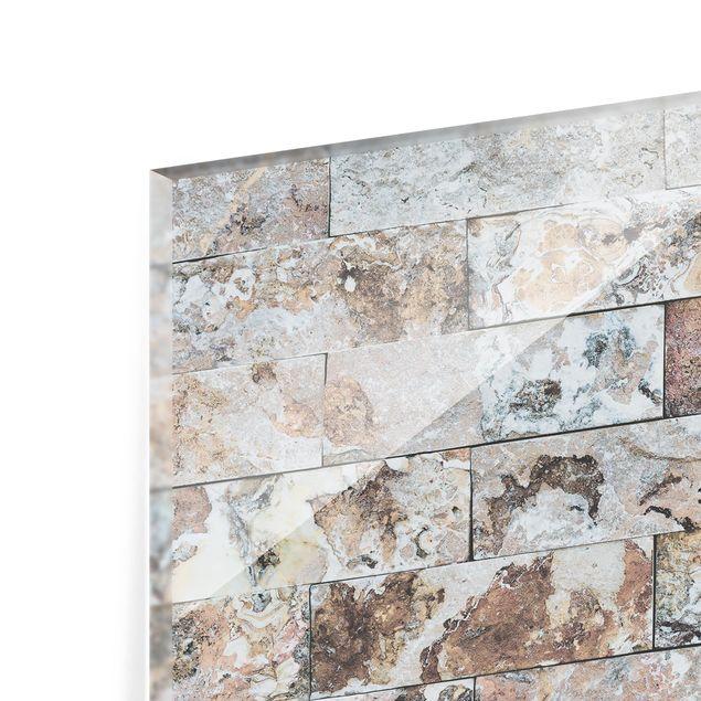 Glas Spritzschutz - Naturmarmor Steinwand - Querformat - 4:3