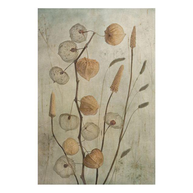 Holzbild - Lampionfrüchte im Herbst - Hochformat 3:2