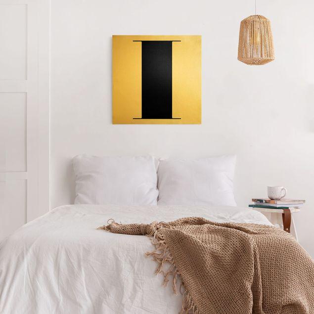 Leinwandbild Gold - Antiqua Letter I - Quadrat 1:1