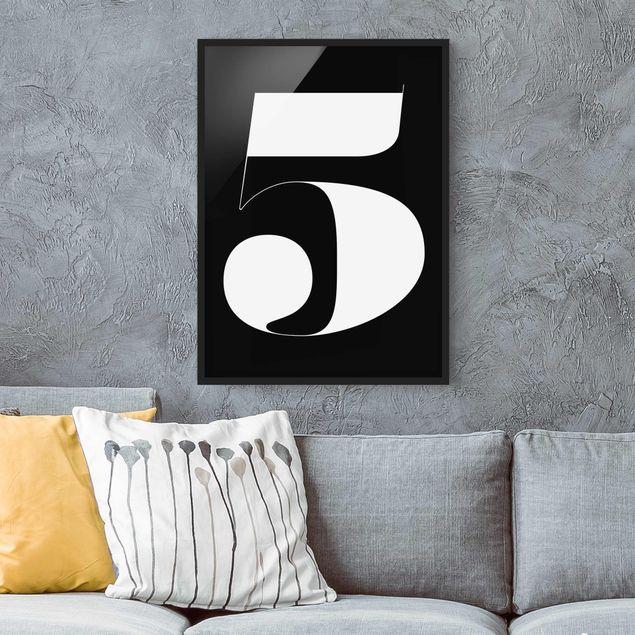 Bild mit Rahmen - Antiqua Zahl 5 - Hochformat 3:4