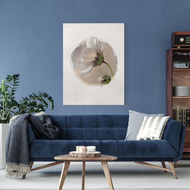 Leinwandbild - Wasserfarben - Himmlischer Blütentraum - Hochformat 4:3