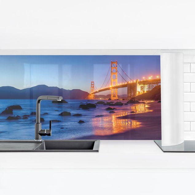 Küchenrückwand - Golden Gate Bridge am Abend