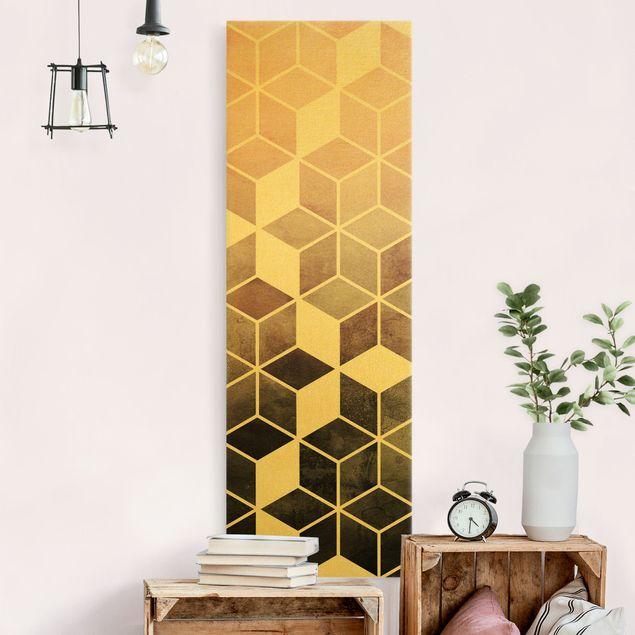 Leinwandbild Gold - Goldene Geometrie - Rosa Grau - Hochformat 1:3