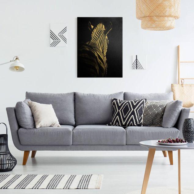 Leinwandbild Gold - Dunkle Zebra Silhouette - Hochformat 3:4