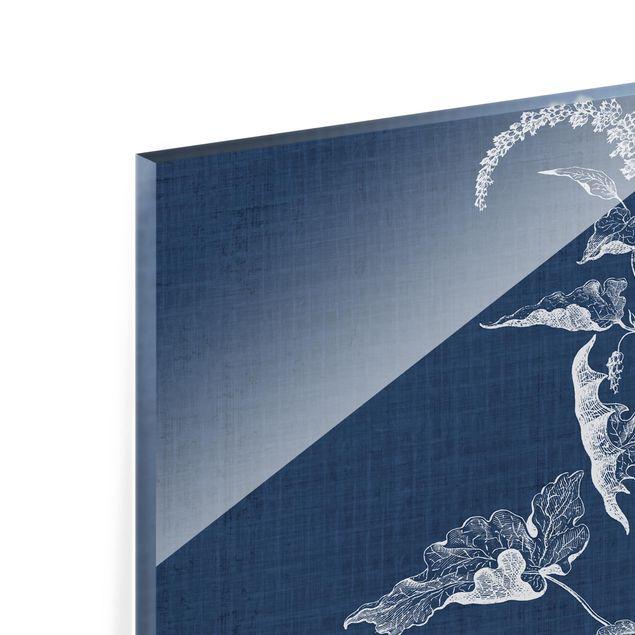 Glas Spritzschutz - Denim Pflanzenstudie II - Quadrat - 1:1
