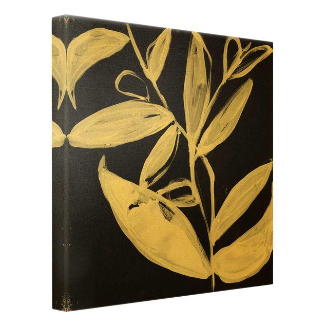 Leinwandbild Gold - Gemalte Blätter auf Schwarz - Quadrat 1:1