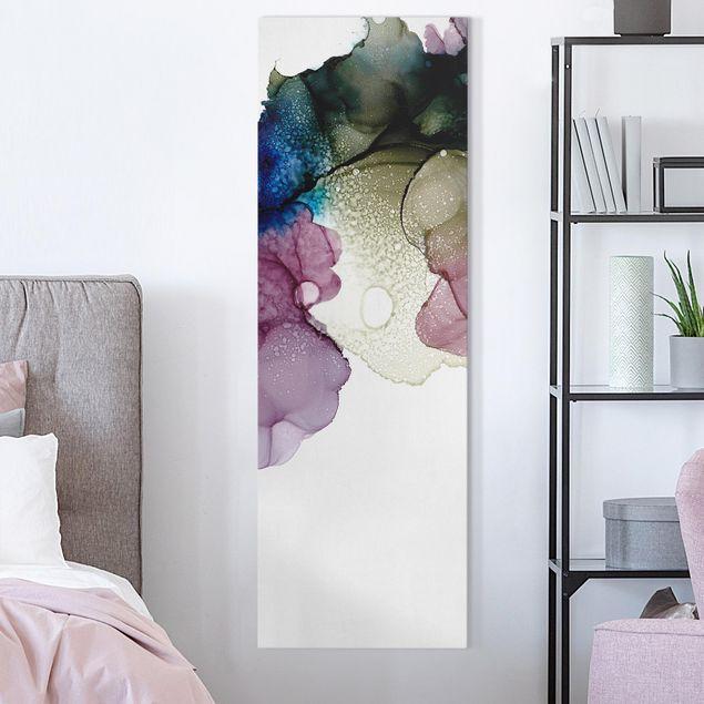 Leinwandbild - Blumenbogen mit Gold - Panorama Hochformat 1:3