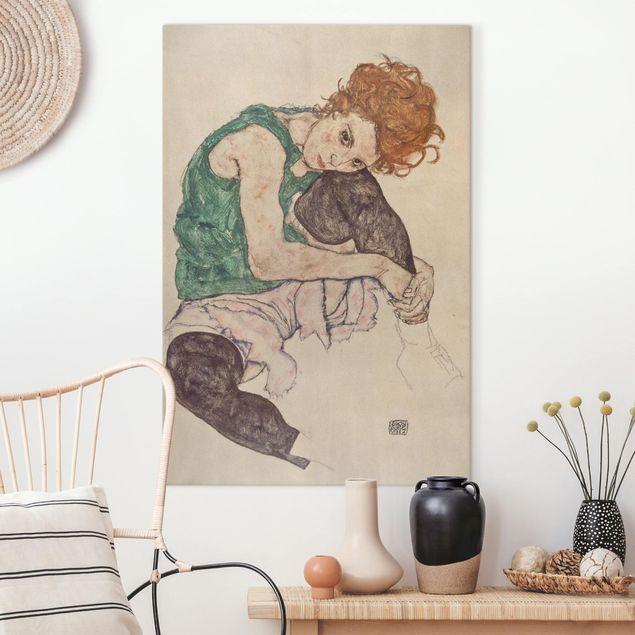 Leinwandbild - Egon Schiele - Sitzende Frau mit hochgezogenem Knie - Hochformat 3:2