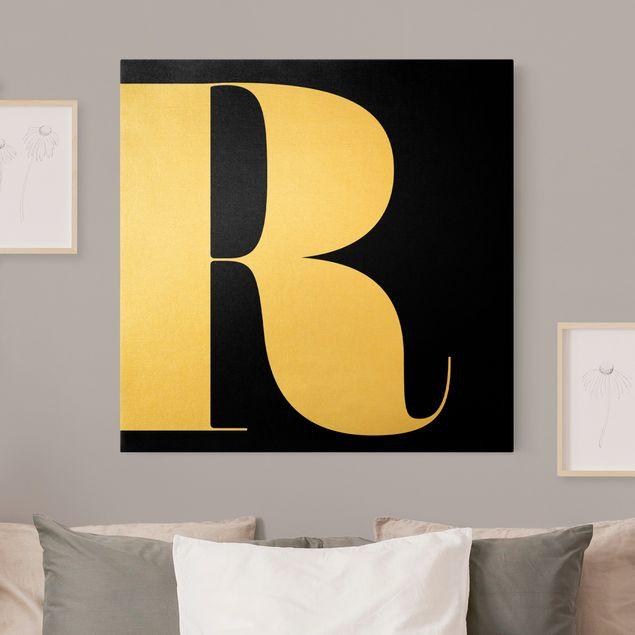 Leinwandbild Gold - Antiqua Letter R Schwarz - Quadrat 1:1