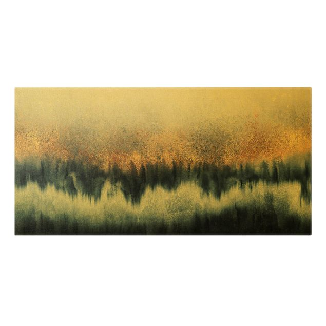 Leinwandbild Gold - Goldener Horizont - Querformat 2:1